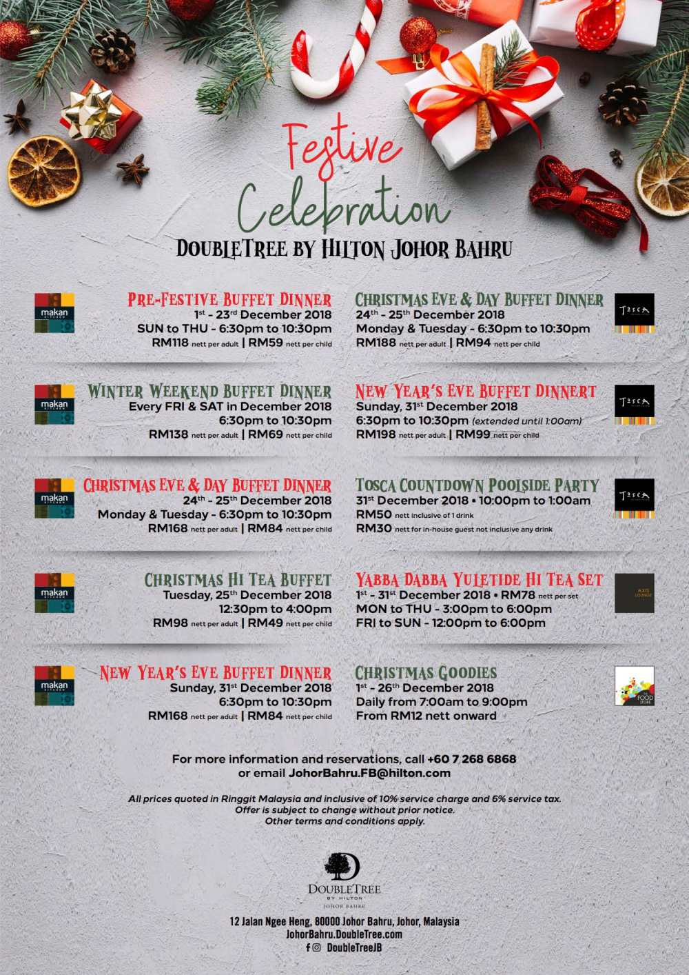 Christmas Menu 2018 at Top Restaurants in Malaysia